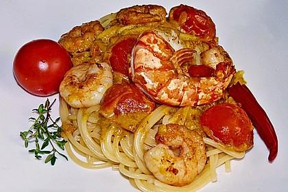 Spaghetti mit Garnelen 1