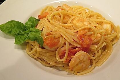 Spaghetti mit Garnelen 6