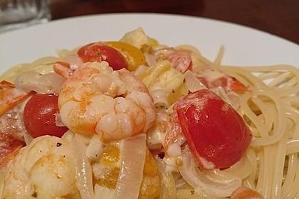 Spaghetti mit Garnelen 11