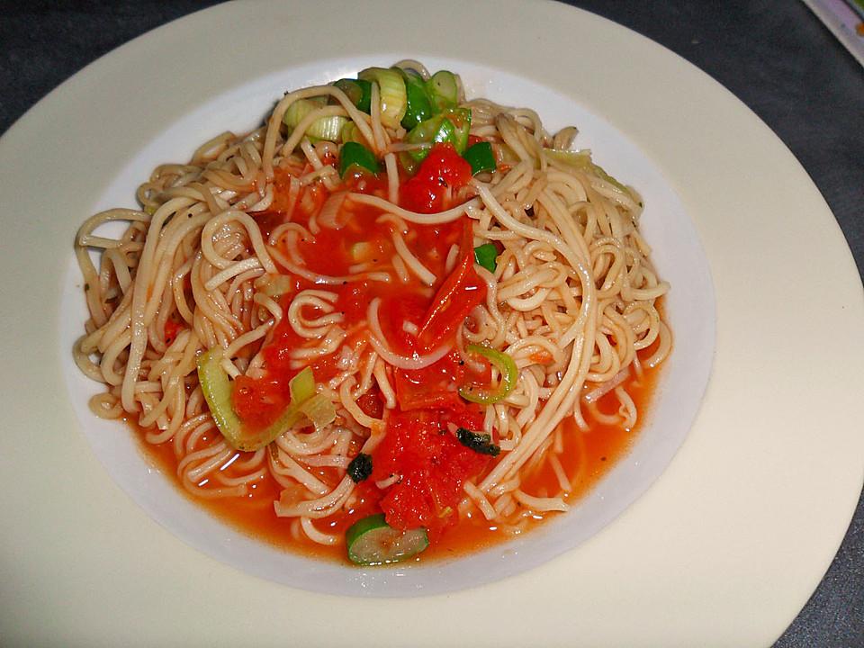 spaghetti mit frischer tomatensauce rezept mit bild. Black Bedroom Furniture Sets. Home Design Ideas