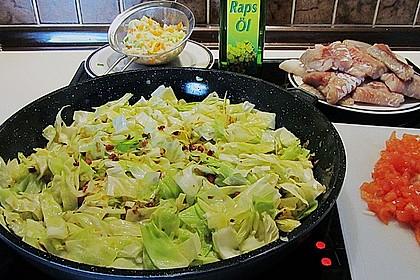 Seelachs auf Spitzkohl mit Schinkenwürfeln und buntem Gemüse 2