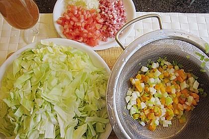 Seelachs auf Spitzkohl mit Schinkenwürfeln und buntem Gemüse 8