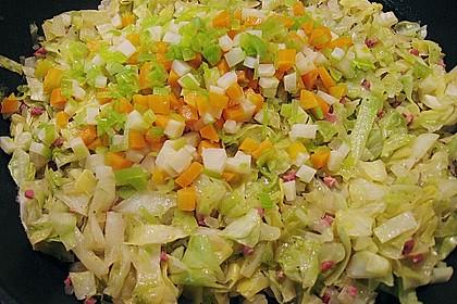 Seelachs auf Spitzkohl mit Schinkenwürfeln und buntem Gemüse 5