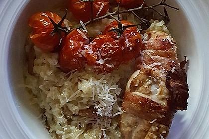 Hähnchenbrustfilet im Schwarzwälder Schinken gebacken auf Pfifferling - Risotto 10