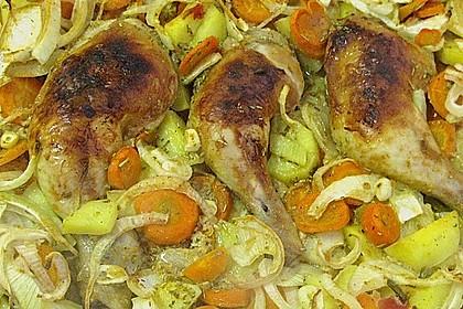 Knusprige Hähnchenschenkel mit Gemüse 6