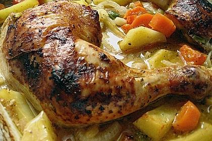 Knusprige Hähnchenschenkel mit Gemüse 4