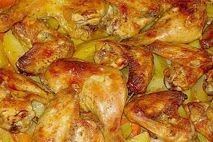 Knusprige Hähnchenschenkel mit Gemüse 5