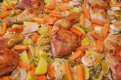Knusprige Hähnchenschenkel mit Gemüse 3