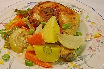 Knusprige Hähnchenschenkel mit Gemüse 2