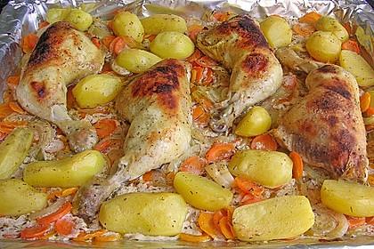 Knusprige Hähnchenschenkel mit Gemüse 1