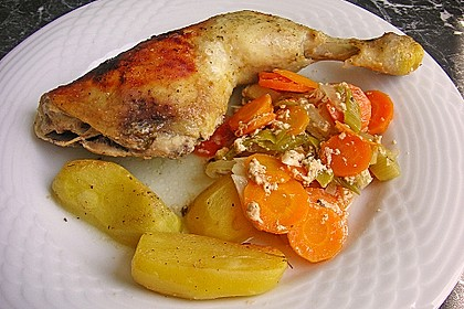 Knusprige Hähnchenschenkel mit Gemüse