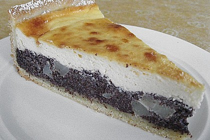 Topfen (Quark) - Mohn - Kuchen mit Birnen 4