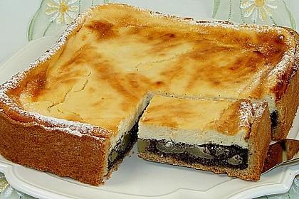 Topfen (Quark) - Mohn - Kuchen mit Birnen 2