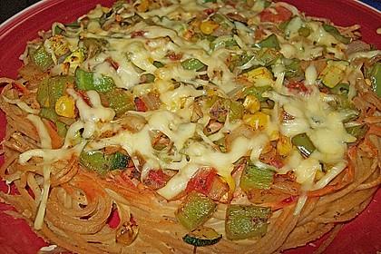 Bunte Spaghetti - Pizza