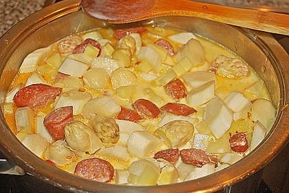Spargel-Suppentopf mit Mettwurst 1