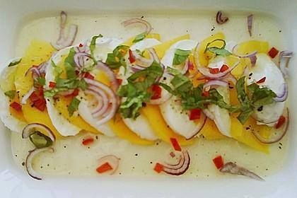 Büffelmozzarella mit Mangoscheiben und  fruchtigem Dressing 28