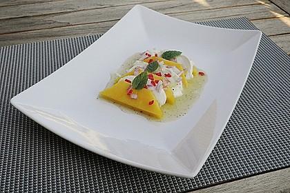 Büffelmozzarella mit Mangoscheiben und  fruchtigem Dressing 9