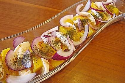 Büffelmozzarella mit Mangoscheiben und  fruchtigem Dressing 13