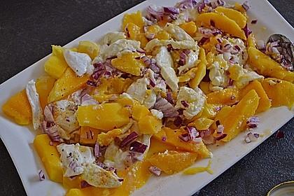 Büffelmozzarella mit Mangoscheiben und  fruchtigem Dressing 18
