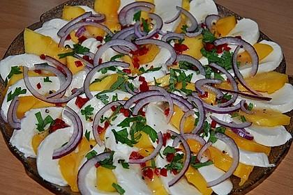 Büffelmozzarella mit Mangoscheiben und  fruchtigem Dressing 8
