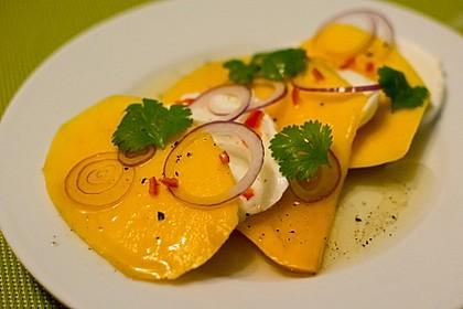 Büffelmozzarella mit Mangoscheiben und  fruchtigem Dressing 4