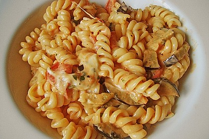 Fusilli mit Auberginen und Mozzarella 7