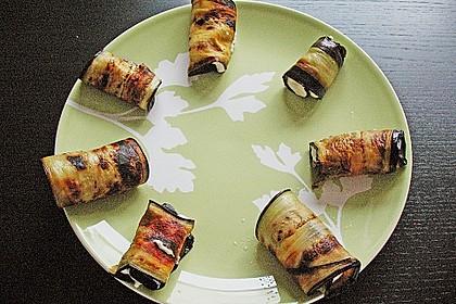 Auberginenröllchen mit Frischkäse 4