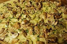 Putenschnitzel mit Estragon - Käse - Sahnesauce überbacken