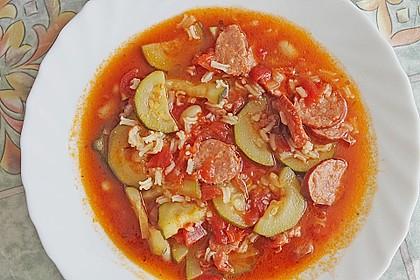 Reis - Gemüse - Suppe mit Cabanossi