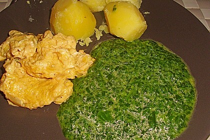 Kartoffeln, Spinat, Käse und Ei 1