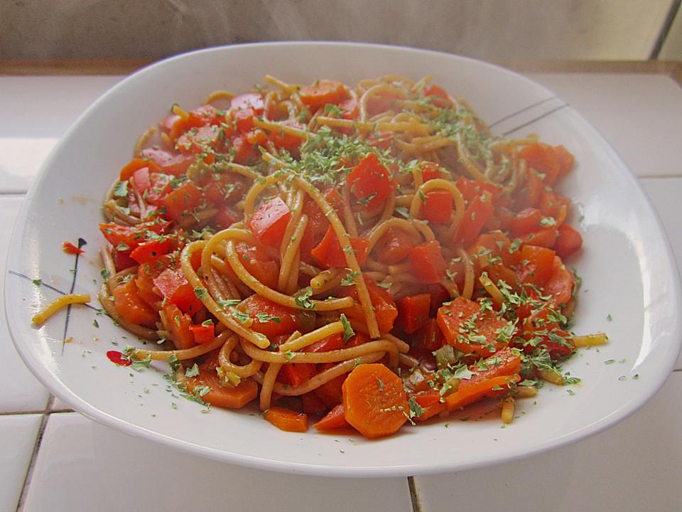 spaghetti mit karotten paprika sauce von kundk. Black Bedroom Furniture Sets. Home Design Ideas