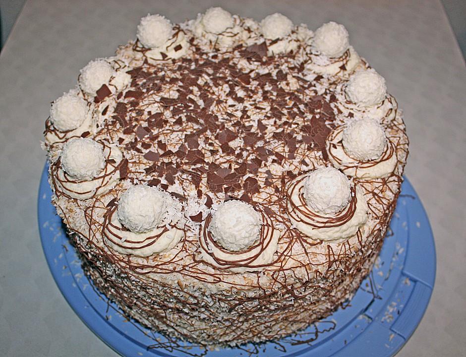 Kokos raffaello torte mit nougat und marzipan von - Torten dekorieren mit marzipan ...