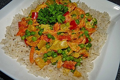 Reis - Gemüse - Pfanne mit Frischkäse