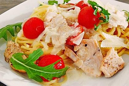 Pasta mit Lachs - Zitronen - Weißweinsauce 6