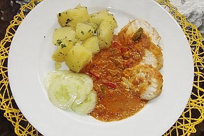 Hähnchenbrüste mit Paprika - Sahnesauce 3