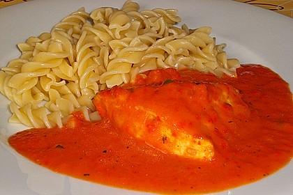 Hähnchenbrüste mit Paprika - Sahnesauce