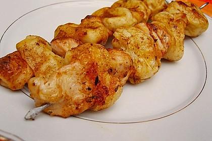 Grillspieß mit Huhn und Brezenteig 4