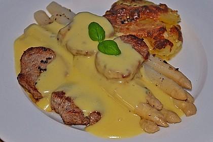 Spargel mit Sauce Hollandaise, gebratenem Schweinefilet und Kartoffelgratin 11