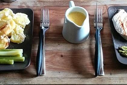 Spargel mit Sauce Hollandaise, gebratenem Schweinefilet und Kartoffelgratin 3