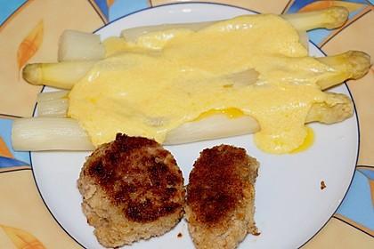 Spargel mit Sauce Hollandaise, gebratenem Schweinefilet und Kartoffelgratin 19