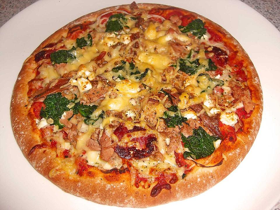 spinat pizza mit schafsk se rezept mit bild von rezeptbuch. Black Bedroom Furniture Sets. Home Design Ideas