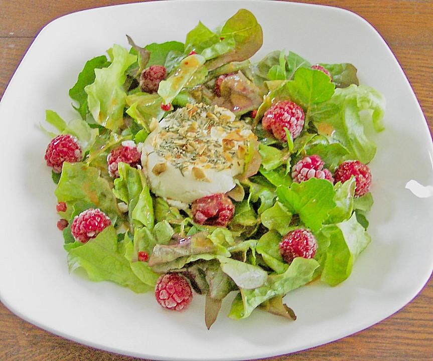 salat mit warmem ziegenk se und himbeeren rezept mit bild. Black Bedroom Furniture Sets. Home Design Ideas