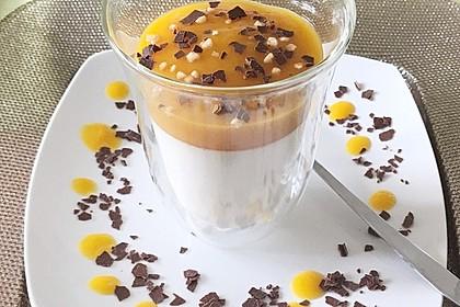 Weiße Espresso - Panna Cotta mit Himbeeren