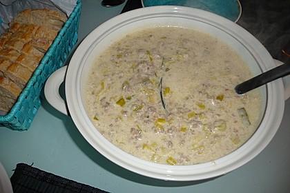 Käse-Lauch-Suppe mit Hackfleisch 124