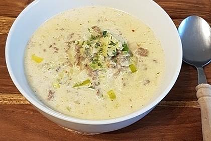 Käse-Lauch-Suppe mit Hackfleisch 8