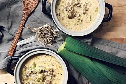 Käse-Lauch-Suppe mit Hackfleisch 1