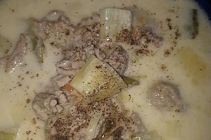 Käse-Lauch-Suppe mit Hackfleisch 76