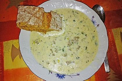 Käse-Lauch-Suppe mit Hackfleisch 80
