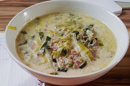 Käse-Lauch-Suppe mit Hackfleisch 13