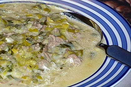 Käse-Lauch-Suppe mit Hackfleisch 75